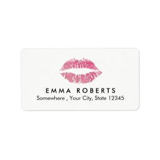 Hot Pink Glitter Lips Makeup Artist Beauty Salon Address Label