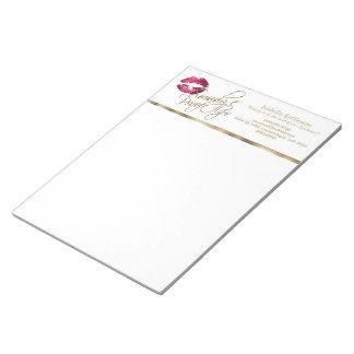 Hot Pink Glitter Lips Notepad