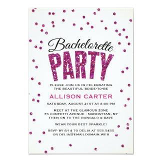 Hot Pink Glitter Look Confetti Bachelorette Party 13 Cm X 18 Cm Invitation Card