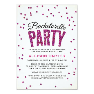 Hot Pink Glitter Look Confetti Bachelorette Party Card