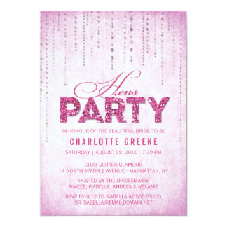 Hot Pink Glitter Look Hens Party 13 Cm X 18 Cm Invitation Card