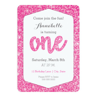 "Hot Pink Glitter ""One"" First Birthday Card 13 Cm X 18 Cm Invitation Card"