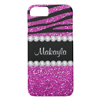 Hot Pink Glitter Print Stylish Black Zebra Pattern iPhone 8/7 Case