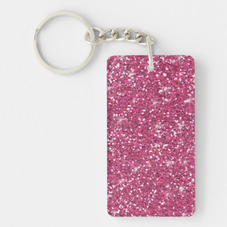 Hot Pink Glitter Printed Single-Sided Rectangular Acrylic Keychain