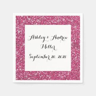 Hot Pink Glitter Printed Paper Serviettes