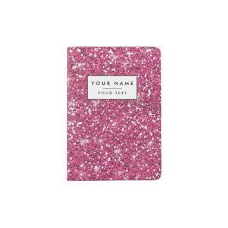 Hot Pink Glitter Printed Passport Holder