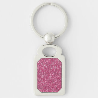 Hot Pink Glitter Printed Silver-Colored Rectangle Key Ring