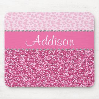 Hot Pink Glitter Rhinestone Leopard Bling Mousepad