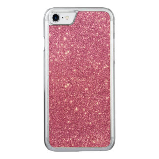Hot Pink Glitter Sparkles Carved iPhone 7 Case
