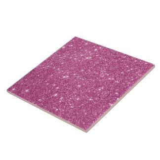 Hot Pink Glitter Sparkles Ceramic Tile