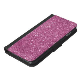 Hot Pink Glitter Sparkles iPhone 6/6s Plus Wallet Case