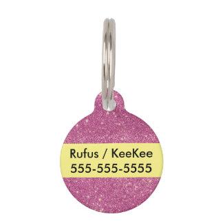 Hot Pink Glitter Sparkles Pet ID Tag