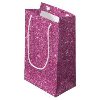 Hot Pink Glitter Sparkles Small Gift Bag