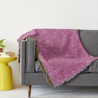Hot Pink Glitter Sparkles Throw Blanket