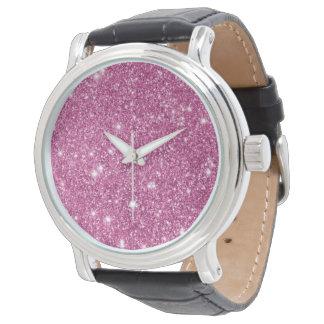 Hot Pink Glitter Sparkles Watch
