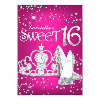 Hot Pink Glitter Tiara & Heels Sweet 16 Invite