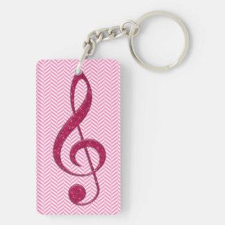 Hot Pink Glitter Treble Clef on Pink Chevron Acrylic Key Chains