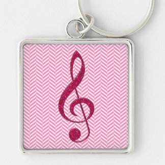 Hot Pink Glitter Treble Clef on Pink Chevron Silver-Colored Square Key Ring