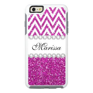 Hot Pink Glitter White Chevron Otter iPhone 6 Case