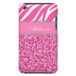 Hot Pink Glitter Zebra Print Rhinestone Girly Case Barely There iPod Covers