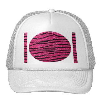 Hot pink glitter zebra stripes trucker hat