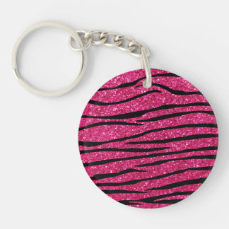 Hot pink glitter zebra stripes Double-Sided round acrylic key ring
