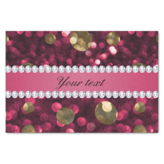 Hot Pink Gold Bokeh Faux Diamonds Personalized Tissue Paper
