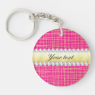 Hot Pink Gold Criss Cross Lines Diamonds Double-Sided Round Acrylic Key Ring