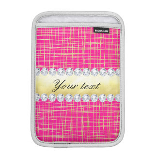 Hot Pink Gold Criss Cross Lines Diamonds iPad Mini Sleeve