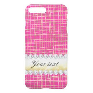 Hot Pink Gold Criss Cross Lines Diamonds iPhone 7 Plus Case