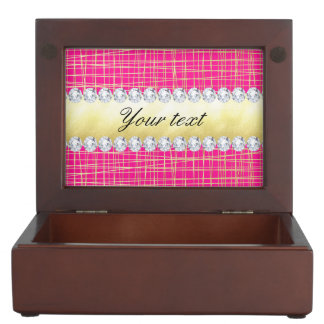 Hot Pink Gold Criss Cross Lines Diamonds Keepsake Box