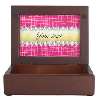 Hot Pink Gold Criss Cross Lines Diamonds Keepsake Boxes
