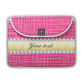 Hot Pink Gold Criss Cross Lines Diamonds MacBook Pro Sleeve