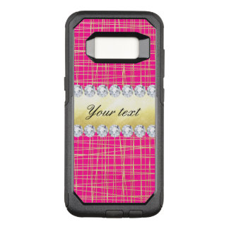 Hot Pink Gold Criss Cross Lines Diamonds OtterBox Commuter Samsung Galaxy S8 Case
