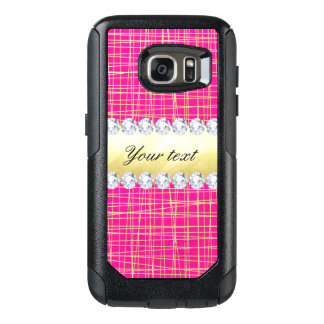 Hot Pink Gold Criss Cross Lines Diamonds OtterBox Samsung Galaxy S7 Case