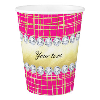 Hot Pink Gold Criss Cross Lines Diamonds Paper Cup