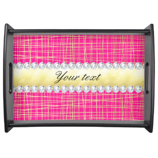 Hot Pink Gold Criss Cross Lines Diamonds Serving Tray