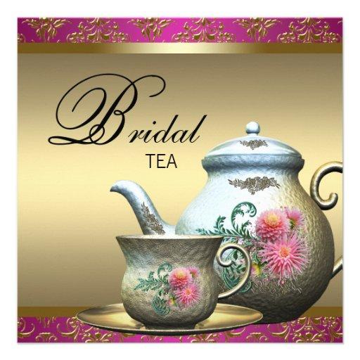 Hot Pink Gold Damask Tea Cup Bridal Shower Invites