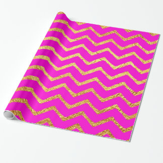 Hot Pink Gold Faux Foil Chevrons Metallic Chevron Wrapping Paper