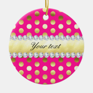 Hot Pink Gold Foil Polka Dots Diamonds Ceramic Ornament