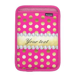 Hot Pink Gold Foil Polka Dots Diamonds iPad Mini Sleeve