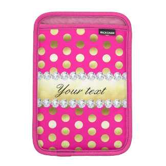 Hot Pink Gold Foil Polka Dots Diamonds iPad Mini Sleeves