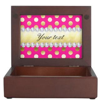Hot Pink Gold Foil Polka Dots Diamonds Keepsake Box