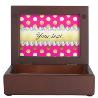 Hot Pink Gold Foil Polka Dots Diamonds Memory Boxes