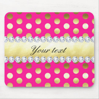 Hot Pink Gold Foil Polka Dots Diamonds Mouse Pad