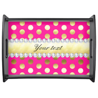Hot Pink Gold Foil Polka Dots Diamonds Serving Tray