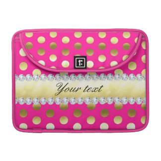 Hot Pink Gold Foil Polka Dots Diamonds Sleeve For MacBook Pro