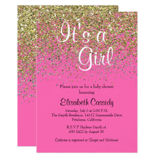Hot Pink & Gold Glitter  Baby Shower Invite
