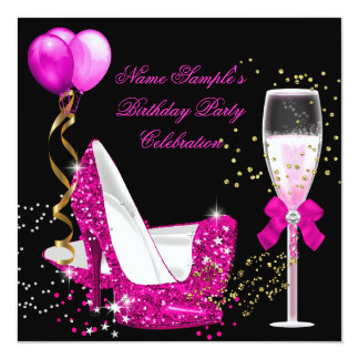 Hot Pink Gold Glitter Black Birthday Party 13 Cm X 13 Cm Square Invitation Card