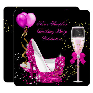 Hot Pink Gold Glitter Black Birthday Party Card